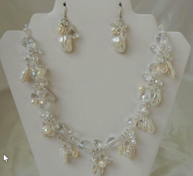 Bridal Pearls Necklace and Earrings F111 - Roses And Teacups