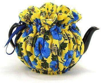 Bright Sunny Blue Large 6-Cup Tea Cozy - Roses And Teacups