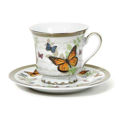Butterfly Discount Tea Cups and Saucers - Set of 6 Cheap Price!  $5.95 Flat Rate Shipping or add a set for FREE Shipping! - Roses And Teacups