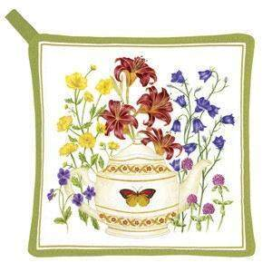 Butterfly Teapot Potholder - Roses And Teacups