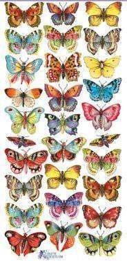 Butterfly Victorian 2 Sheets of Stickers - Roses And Teacups