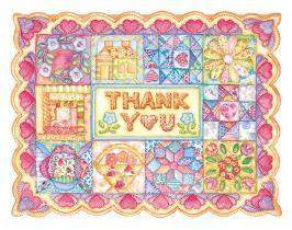 Carol Wilson Carol's Rose Garden Patchwork Quilt Thank You Notes - Roses And Teacups