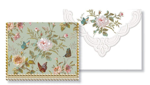 Carol Wilson Classic Butterfly Note Card Portfolio - Roses And Teacups