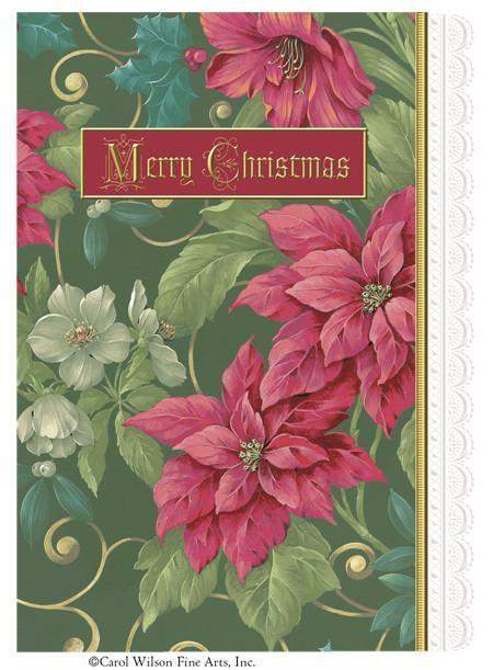 Carol Wilson Green Poinsettia 5 x 7 Merry Christmas Card with Envelope - Roses And Teacups