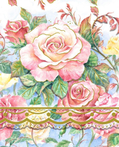 Carol Wilson Open Roses Mini Purse Notepad - Available for Shipping in October - Roses And Teacups