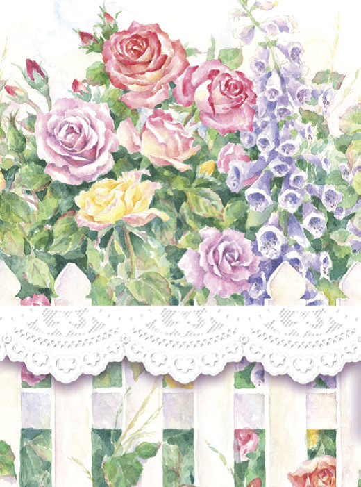 Carol Wilson Rose Fence Mini Purse Notepad - Available for Shipping in October - Roses And Teacups