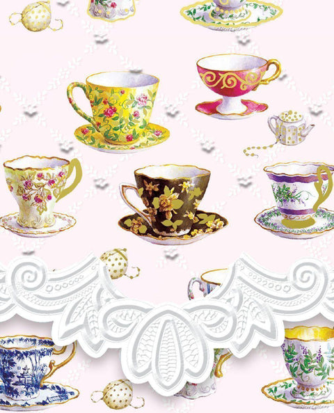 Carol Wilson Teacups (Tea Cups) Mini Purse Pad Notepad - Available for Shipping in October - Roses And Teacups