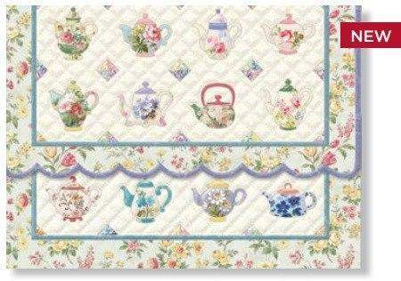 Carol Wilson Teapot Quilt Note Card Portfolio-Roses And Teacups