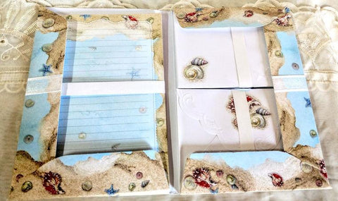 Carol Wilson Writing Set Sea Shells - Roses And Teacups