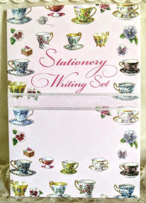 Carol Wilson Writing Set Tea Cups - Roses And Teacups