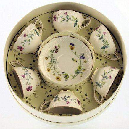 Caroline Wildfloral Gift Boxed Set of 6 Fine Porcleain Demi Tea Cups with Saucers - Roses And Teacups