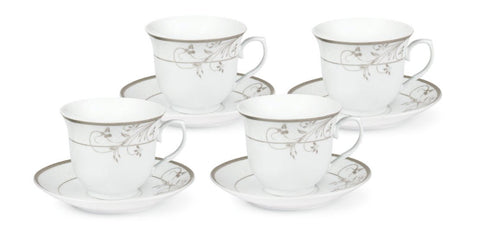Case of 24 Viola Silver Floral Bulk Wholesale Tea Cups and Saucers FREE SHIPPING!-Roses And Teacups