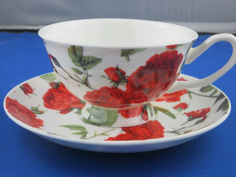 Catherine Red Roses English Bone China Teacups and Saucers Set of 2 - Roses And Teacups