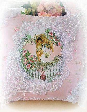 Cherubs with Doves  Crystal Roses  Victorian Pillow - Roses And Teacups