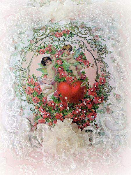Cherubs with Heart  Crystal Roses Victorian Pillow - Roses And Teacups