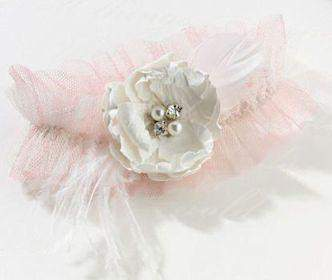 Chic and Shabby Blush Garter - Roses And Teacups