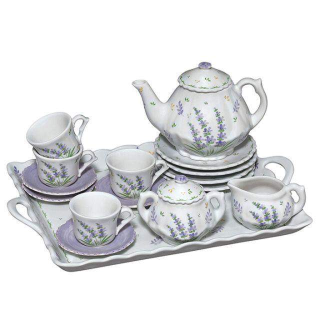Child Size Lavender Children's 18pc Porcelain Tea Set - Perfect for Kids - Roses And Teacups