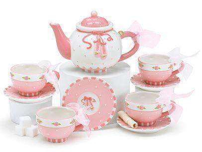 Childrens Ballet Shoes Tea Set Perfect For Little Girls - Roses And Teacups