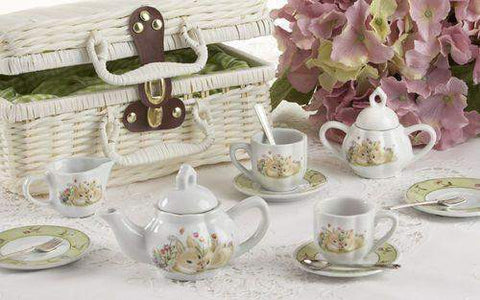 Childrens Porcelain Girls Tea Set - Bunny in Wicker Style Basket - FREE TEA INCLUDED!-Roses And Teacups