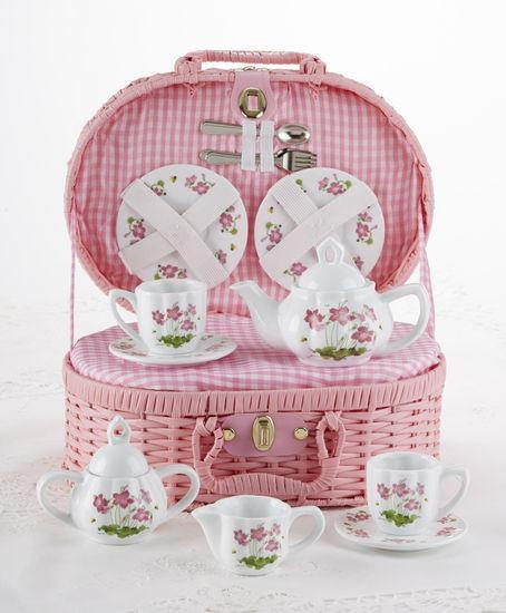 Childrens Porcelain Girls Tea Set - Pink Floral in Wicker Style  - FREE TEA INCLUDED! - Roses And Teacups