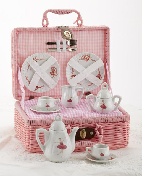 Childrens Porcelain Tea Set in Girls Wicker Style Basket - Pink Ballerina - FREE TEA INCLUDED!-Roses And Teacups