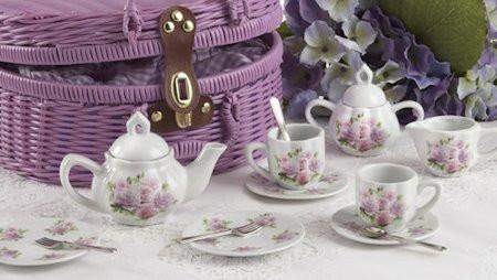 Childrens Porcelain Tea Set in Rounded Wicker Style Basket - Rose - FREE TEA INCLUDED! - Roses And Teacups