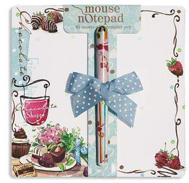 Chocolate Mouse Notepad with Designer Pen-Roses And Teacups