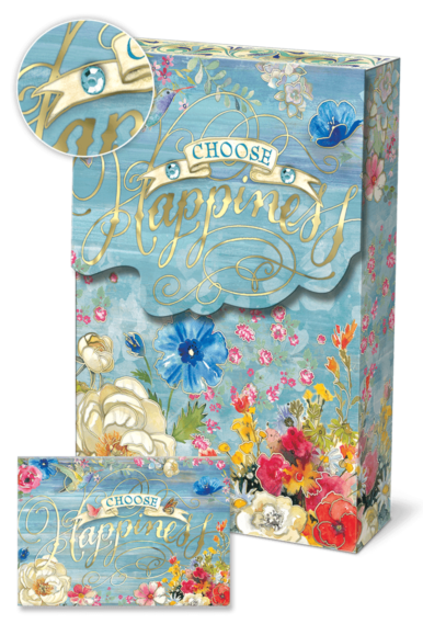 Choose Happiness Pouch Note Cards and Matching Envelopes - Roses And Teacups