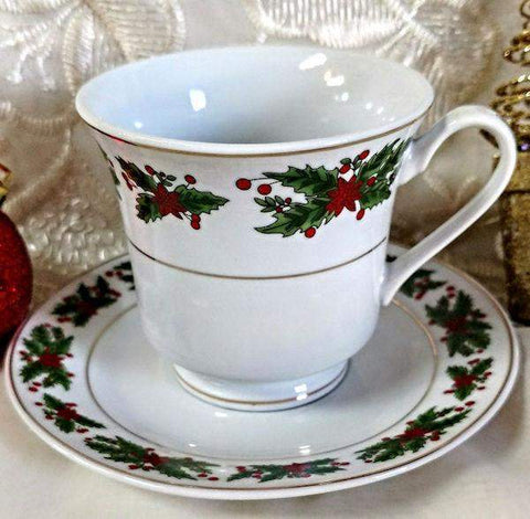 Christmas Holly Bulk Teacups includes Set of 6 Porcelain Discount 6 Tea Cups and 6 Saucer $5.95 Shipping or order 2 sets for FREE Shipping Plus FREE Christmas Tea! - Roses And Teacups