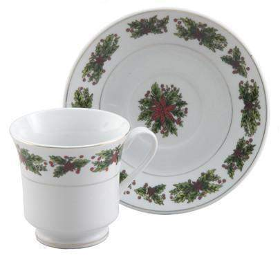 Christmas Holly Bulk Teacups includes Set of 6 Porcelain Discount 6 Tea Cups and 6 Saucer $5.95 Shipping or order 2 sets for FREE Shipping Plus FREE Christmas Tea!-Roses And Teacups