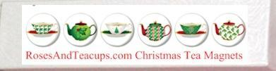 Christmas Tea Cup Teapot Magnet Favors in Gift Box - Roses And Teacups