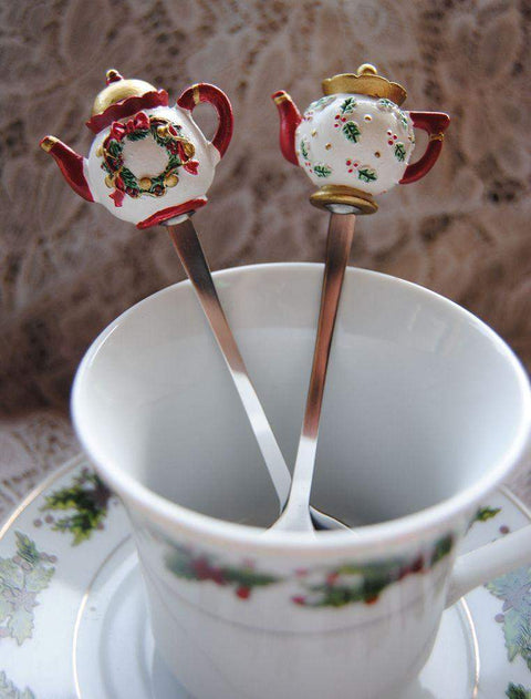 Christmas Teapot Spoon - Wreath-Roses And Teacups