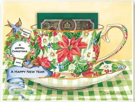 Christmas Wishes Kimberly Shaw Tea in a Tea Cup Christmas Card - Roses And Teacups