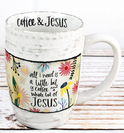 Coffee and a Whole Lot of Jesus Large Ceramic Mug - Roses And Teacups