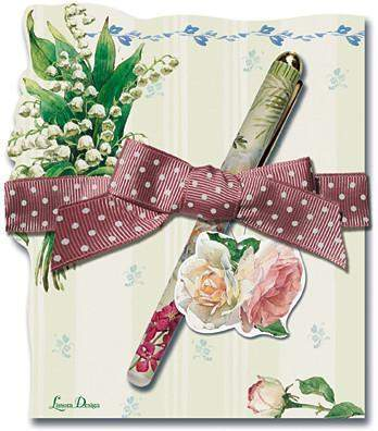 Cottage in Bloom Lily Die Cut Notepad and Pen-Roses And Teacups