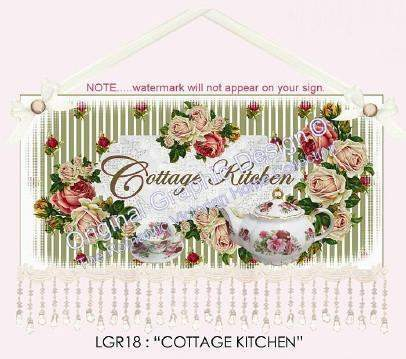 Cottage Kitchen 16 x 10  Wall Hanging - Only 3 Left! - Roses And Teacups