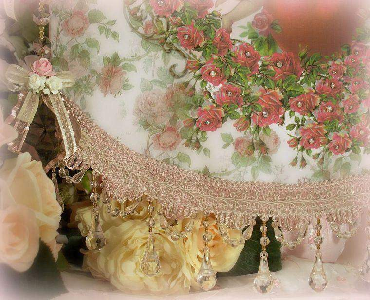 Crystal Roses Cherubs and Heart Wall Hanging - Roses And Teacups