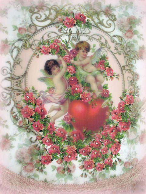 Crystal Roses Cherubs and Heart Wall Hanging-Roses And Teacups