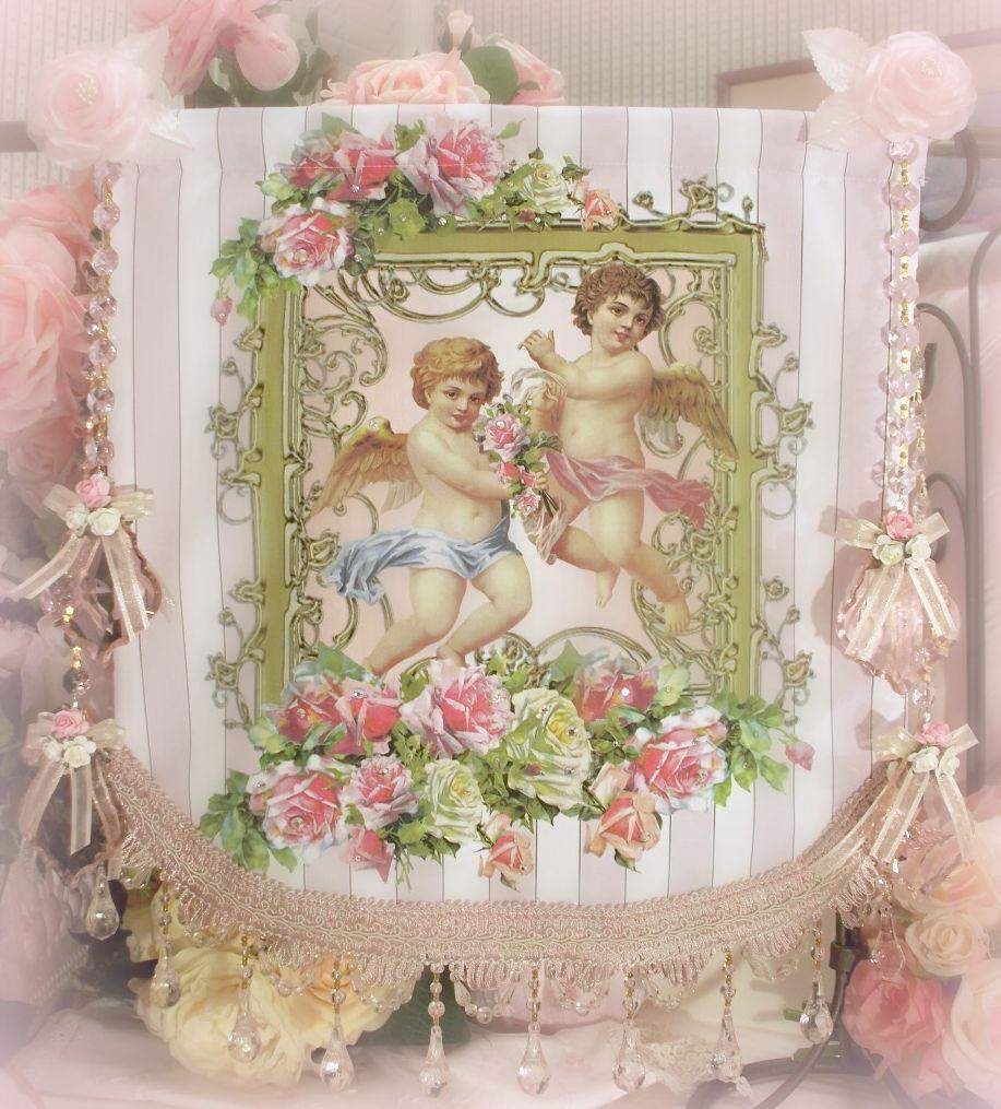 Crystal Roses Cherubs and Roses Wall Hanging - Roses And Teacups
