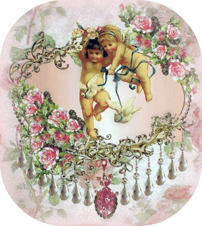 Crystal Roses Twin Cherubs and Dove Wall Hanging - Roses And Teacups