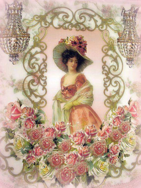 Crystal Roses Victorian Lady Wall Hanging - Roses And Teacups