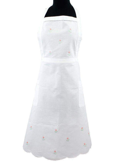 Dainty Pink Rosebud Cotton Scalloped Apron - Only 1 Available!-Roses And Teacups