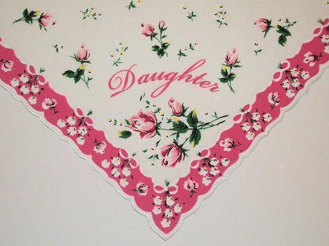 Daughter Hankie with Pretty Pink Roses - Limited!-Roses And Teacups