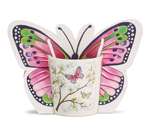 Dogwood and Butterflies Bone China Mug with Adorable Carrying Caddy - Roses And Teacups
