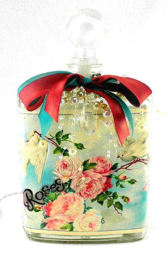 Doves and Roses Perfume Bottle Nightlight  ( Night Light ) - Roses And Teacups