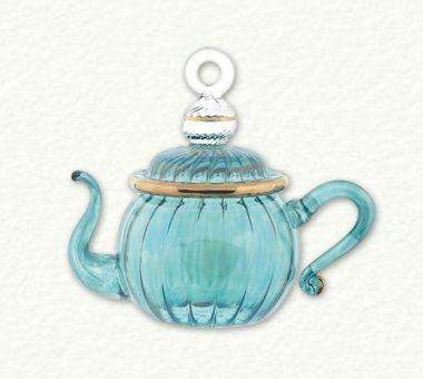 Egyptian Glass Green Swirl Teapot Ornament - Roses And Teacups