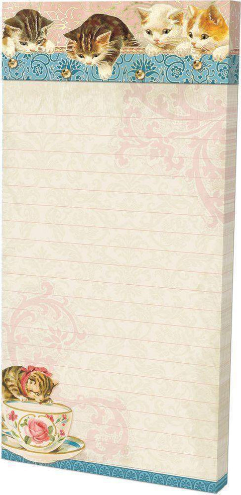 Embellished Magnetic List Pad - Kittens - Cats - Roses And Teacups