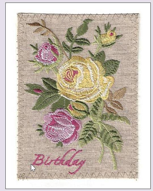 Embroidered Linen Pink And Yellow Roses Birthday Greeting Card