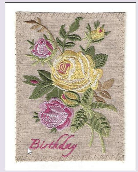 Embroidered Linen Pink and Yellow Roses Birthday Greeting Card - Roses And Teacups