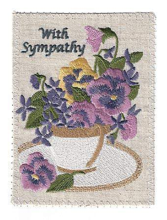 Embroidered Linen Tea Cup Pansies Sympathy Greeting Card - Roses And Teacups